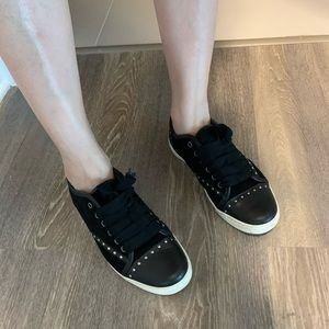 Lanvin stud navy sneakers